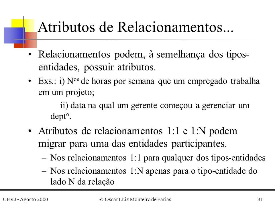 UERJ - Agosto 2000© Oscar Luiz Monteiro de Farias31 Atributos de Relacionamentos...