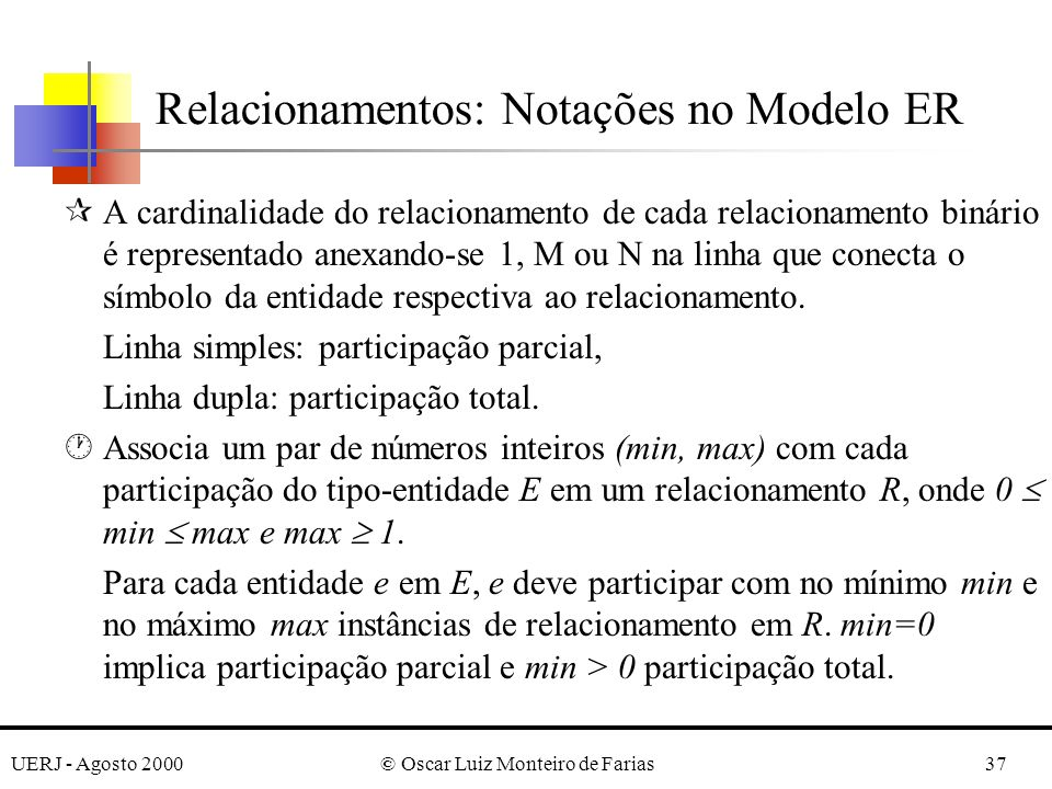 UERJ - Agosto 2000© Oscar Luiz Monteiro de Farias37 Relacionamentos: Notações no Modelo ER ¶A cardinalidade do relacionamento de cada relacionamento binário é representado anexando-se 1, M ou N na linha que conecta o símbolo da entidade respectiva ao relacionamento.