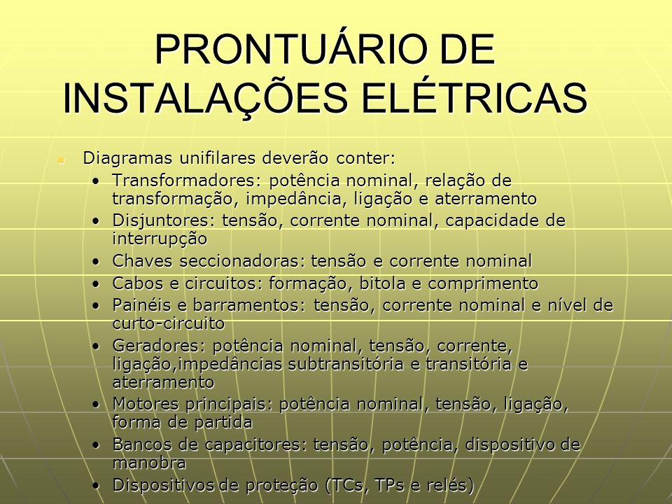 PRONTUÁRIO DE INSTALAÇÕES ELÉTRICAS Diagramas unifilares deverão conter: Diagramas unifilares deverão conter: Transformadores: potência nominal, relaç