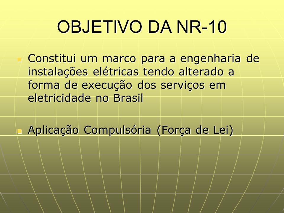 OBJETIVO DA NR-10 Constitui um marco para a engenharia de instalações elétricas tendo alterado a forma de execução dos serviços em eletricidade no Bra