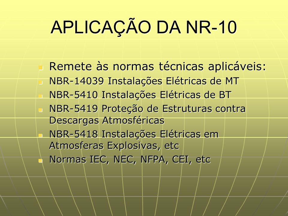 APLICAÇÃO DA NR-10 Remete às normas técnicas aplicáveis: Remete às normas técnicas aplicáveis: NBR-14039 Instalações Elétricas de MT NBR-14039 Instala
