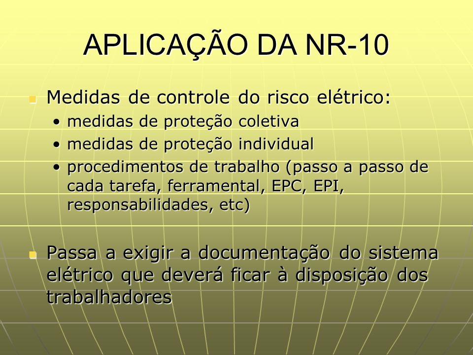 APLICAÇÃO DA NR-10 Medidas de controle do risco elétrico: Medidas de controle do risco elétrico: medidas de proteção coletivamedidas de proteção colet