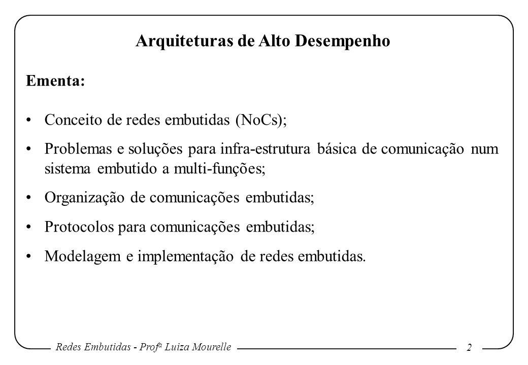 Redes Embutidas - Prof a Luiza Mourelle 2 Arquiteturas de Alto Desempenho Ementa: Conceito de redes embutidas (NoCs); Problemas e soluções para infra-