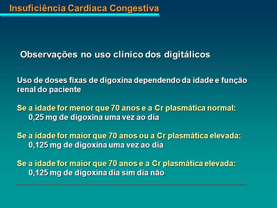 Insuficiência Cardíaca Congestiva Uso de doses fixas de digoxina dependendo da idade e função renal do paciente Se a idade for menor que 70 anos e a C