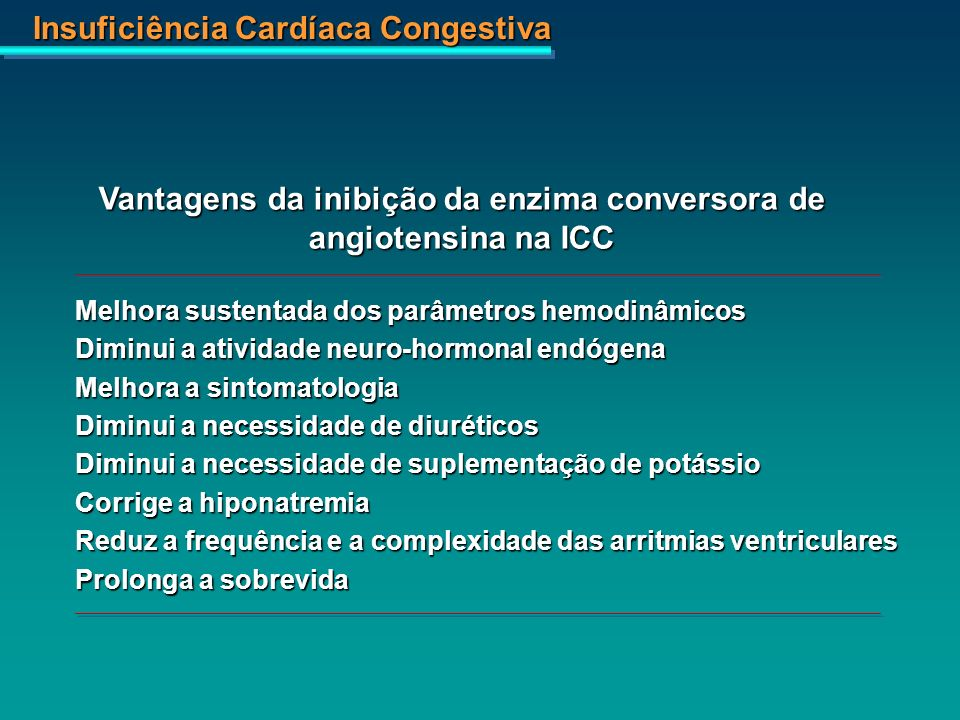 Insuficiência Cardíaca Congestiva Vantagens da inibição da enzima conversora de angiotensina na ICC Melhora sustentada dos parâmetros hemodinâmicos Di
