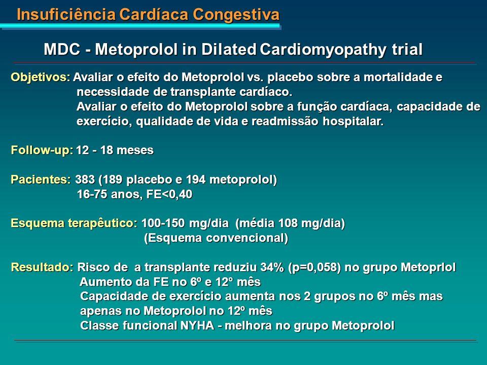 Insuficiência Cardíaca Congestiva MDC - Metoprolol in Dilated Cardiomyopathy trial Objetivos: Avaliar o efeito do Metoprolol vs. placebo sobre a morta