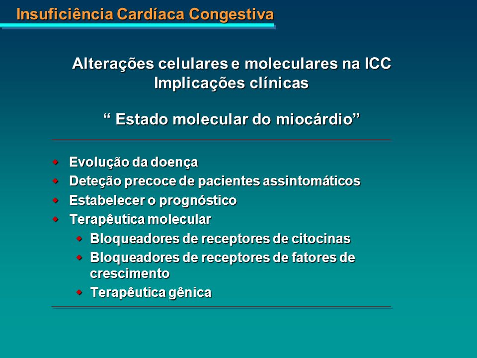 Insuficiência Cardíaca Congestiva Placebo Enalapril p=0,003 0123456789101112 Meses Placebo:1261027853595347423430241817 Enalapril:1271119588827973645949423126 0,80,70,60,50,40,30,1 Probabiidade de morte cumulativa CONSENSUS - Cooperative North Scandinavian Enalapril Survival Study CONSENSUS Trial Study Group, N Eng J Med, 1987 NYHA IV