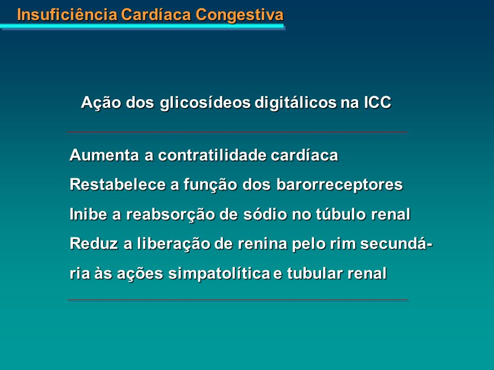 Insuficiência Cardíaca Congestiva Ação dos glicosídeos digitálicos na ICC Aumenta a contratilidade cardíaca Restabelece a função dos barorreceptores I