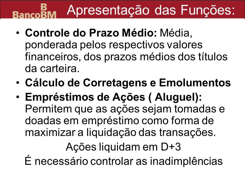 Apresentação das Funções: Controle do Prazo Médio: Média, ponderada pelos respectivos valores financeiros, dos prazos médios dos títulos da carteira.