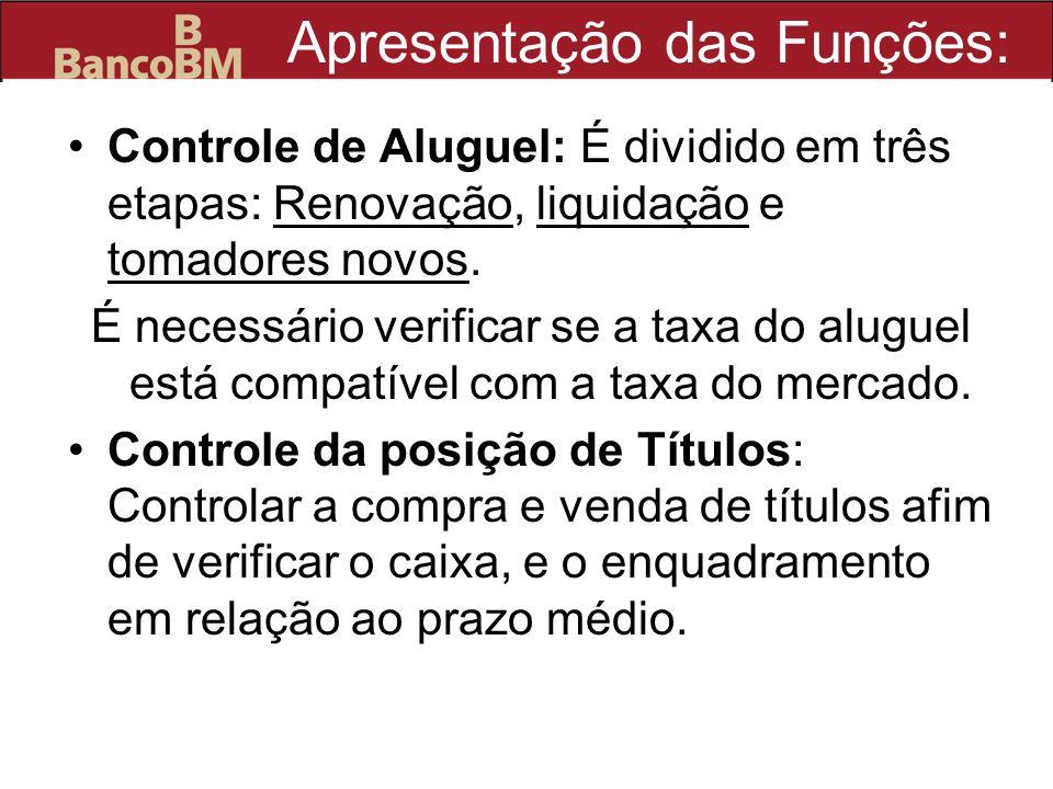 Apresentação das Funções: Controle de Aluguel: É dividido em três etapas: Renovação, liquidação e tomadores novos. É necessário verificar se a taxa do