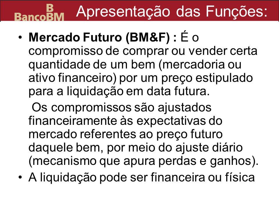 Apresentação das Funções: Mercado Futuro (BM&F) : É o compromisso de comprar ou vender certa quantidade de um bem (mercadoria ou ativo financeiro) por