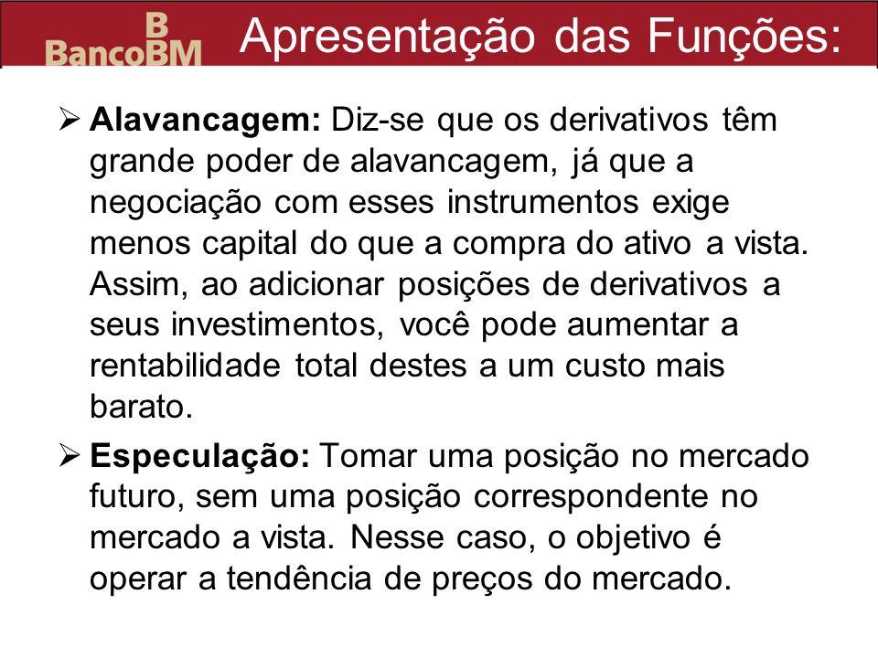 Apresentação das Funções: Alavancagem: Diz-se que os derivativos têm grande poder de alavancagem, já que a negociação com esses instrumentos exige men