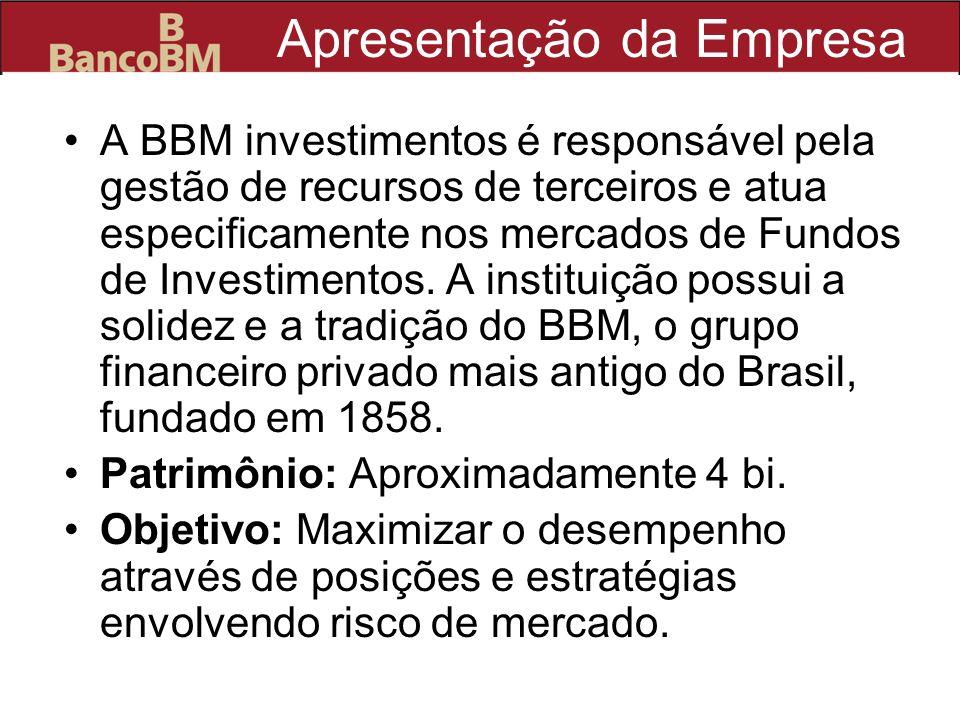 Apresentação da Empresa A BBM investimentos é responsável pela gestão de recursos de terceiros e atua especificamente nos mercados de Fundos de Invest