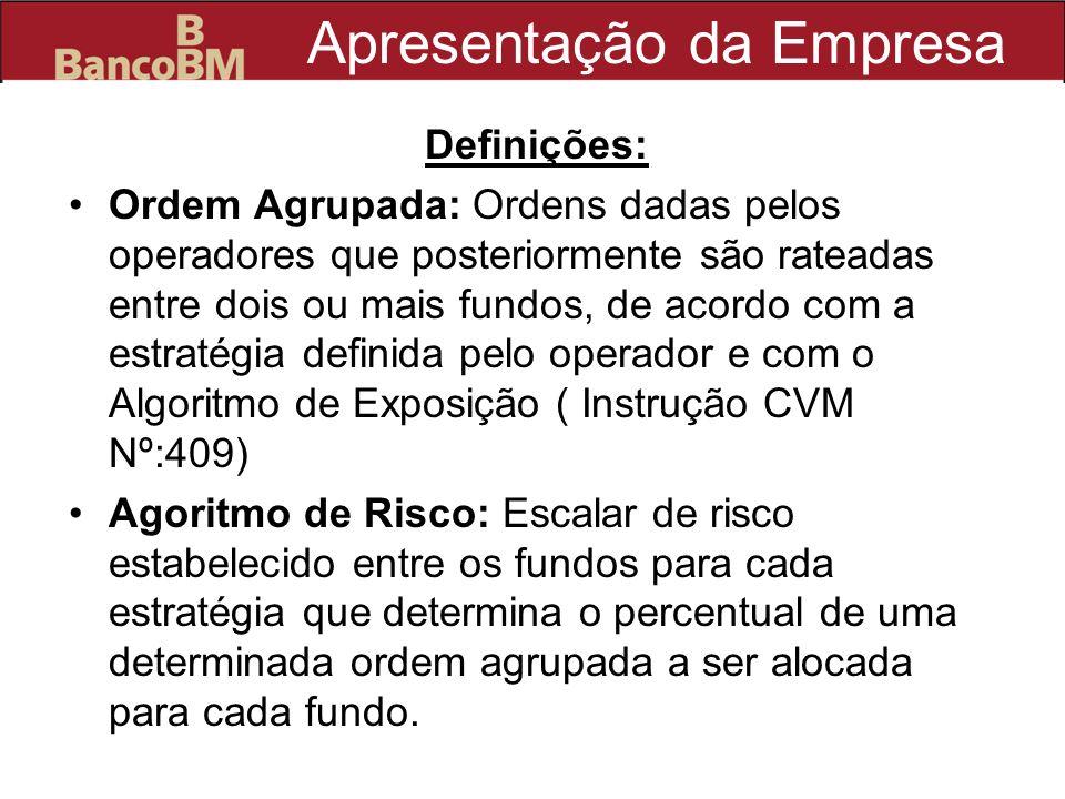 Apresentação da Empresa Definições: Ordem Agrupada: Ordens dadas pelos operadores que posteriormente são rateadas entre dois ou mais fundos, de acordo
