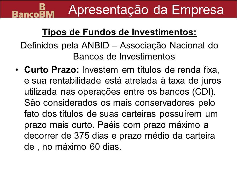 Apresentação da Empresa Tipos de Fundos de Investimentos: Definidos pela ANBID – Associação Nacional do Bancos de Investimentos Curto Prazo: Investem
