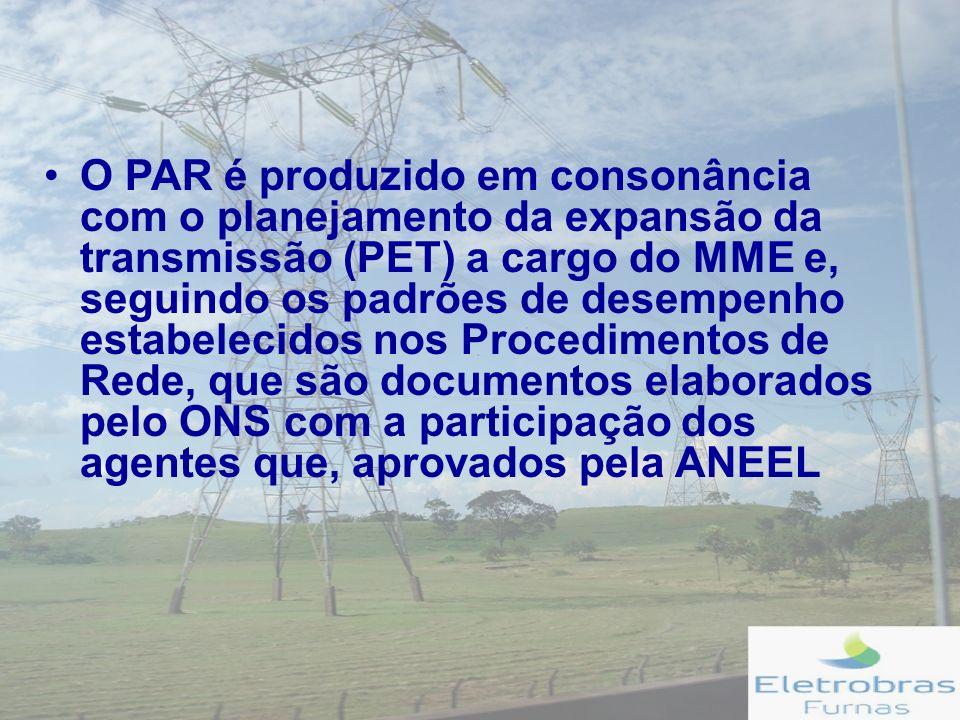 O PAR é produzido em consonância com o planejamento da expansão da transmissão (PET) a cargo do MME e, seguindo os padrões de desempenho estabelecidos nos Procedimentos de Rede, que são documentos elaborados pelo ONS com a participação dos agentes que, aprovados pela ANEEL