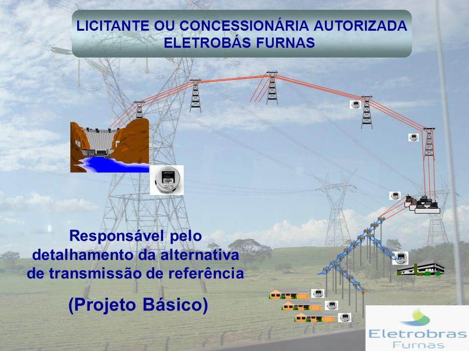 LICITANTE OU CONCESSIONÁRIA AUTORIZADA ELETROBÁS FURNAS Responsável pelo detalhamento da alternativa de transmissão de referência (Projeto Básico)