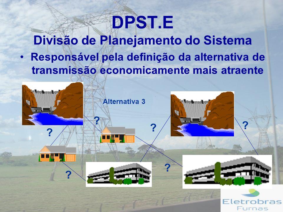 DPST.E Divisão de Planejamento do Sistema Responsável pela definição da alternativa de transmissão economicamente mais atraente .