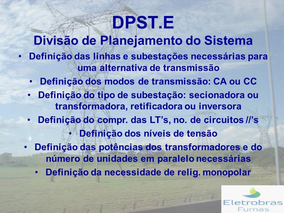 DPST.E Divisão de Planejamento do Sistema Definição das linhas e subestações necessárias para uma alternativa de transmissão Definição dos modos de transmissão: CA ou CC Definição do tipo de subestação: secionadora ou transformadora, retificadora ou inversora Definição do compr.