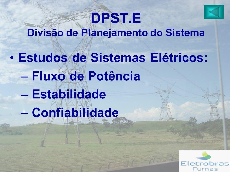 DPST.E Divisão de Planejamento do Sistema Estudos de Sistemas Elétricos: – Fluxo de Potência – Estabilidade – Confiabilidade
