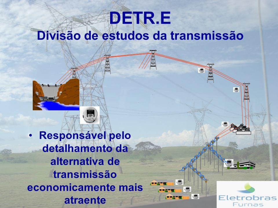 DETR.E Divisão de estudos da transmissão Responsável pelo detalhamento da alternativa de transmissão economicamente mais atraente