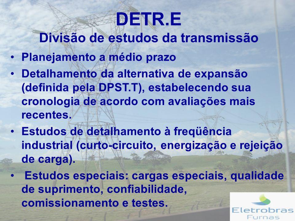 DETR.E Divisão de estudos da transmissão Planejamento a médio prazo Detalhamento da alternativa de expansão (definida pela DPST.T), estabelecendo sua cronologia de acordo com avaliações mais recentes.