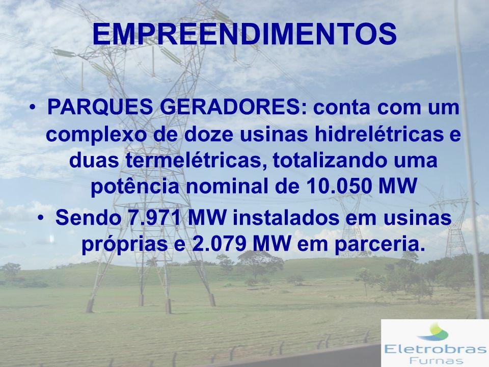 EMPREENDIMENTOS PARQUES GERADORES: conta com um complexo de doze usinas hidrelétricas e duas termelétricas, totalizando uma potência nominal de 10.050 MW Sendo 7.971 MW instalados em usinas próprias e 2.079 MW em parceria.
