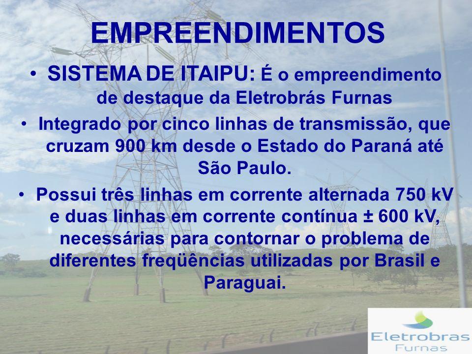 EMPREENDIMENTOS SUBESTAÇÕES: A Eletrobrás Furnas conta com 35 subestações, que se distribuem em: 12 Subestações no Rio de Janeiro; 8 Subestações em São Paulo; 2 Subestações em Minas Gerais; 2 Subestações no Espírito Santo; 5 Subestações em Goiás; 3 Subestações em Brasília; 2 Subestações no Paraná; 1 Subestação em Tocantins.