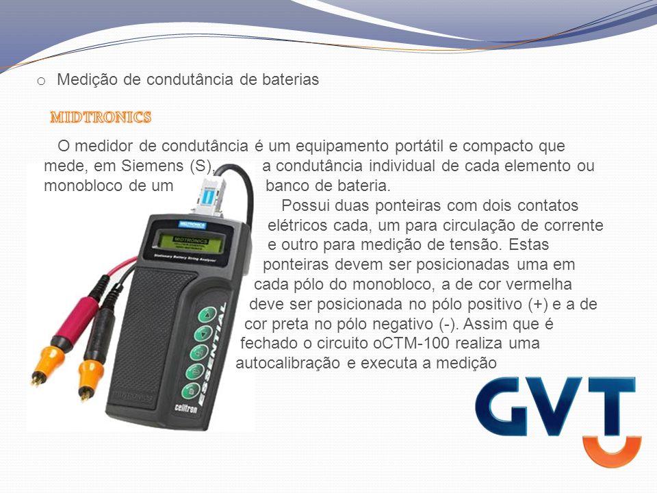 O medidor de condutância é um equipamento portátil e compacto que mede, em Siemens (S), a condutância individual de cada elemento ou monobloco de um banco de bateria.