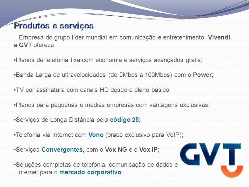 A GVT é a operadora de telecomunicações que adota as mais avançadas tecnologias disponíveis, transformando-as em serviços e benefícios ao cliente final.
