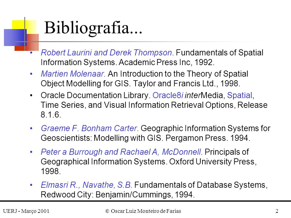 UERJ - Março 2001© Oscar Luiz Monteiro de Farias33 Estruturas Geométricas Geometria vetorial Geometria raster Objeto Dados Temáticos