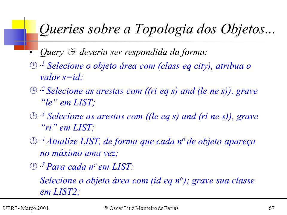 UERJ - Março 2001© Oscar Luiz Monteiro de Farias67 Query deveria ser respondida da forma: ¹.1 Selecione o objeto área com (class eq city), atribua o valor s=id; ¹.2 Selecione as arestas com ((ri eq s) and (le ne s)), grave le em LIST; ¹.3 Selecione as arestas com ((le eq s) and (ri ne s)), grave ri em LIST; ¹.4 Atualize LIST, de forma que cada n o de objeto apareça no máximo uma vez; ¹.5 Para cada n o em LIST: Selecione o objeto área com (id eq n o ); grave sua classe em LIST2; Queries sobre a Topologia dos Objetos...