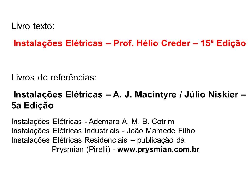 Livro texto: Instalações Elétricas – Prof.