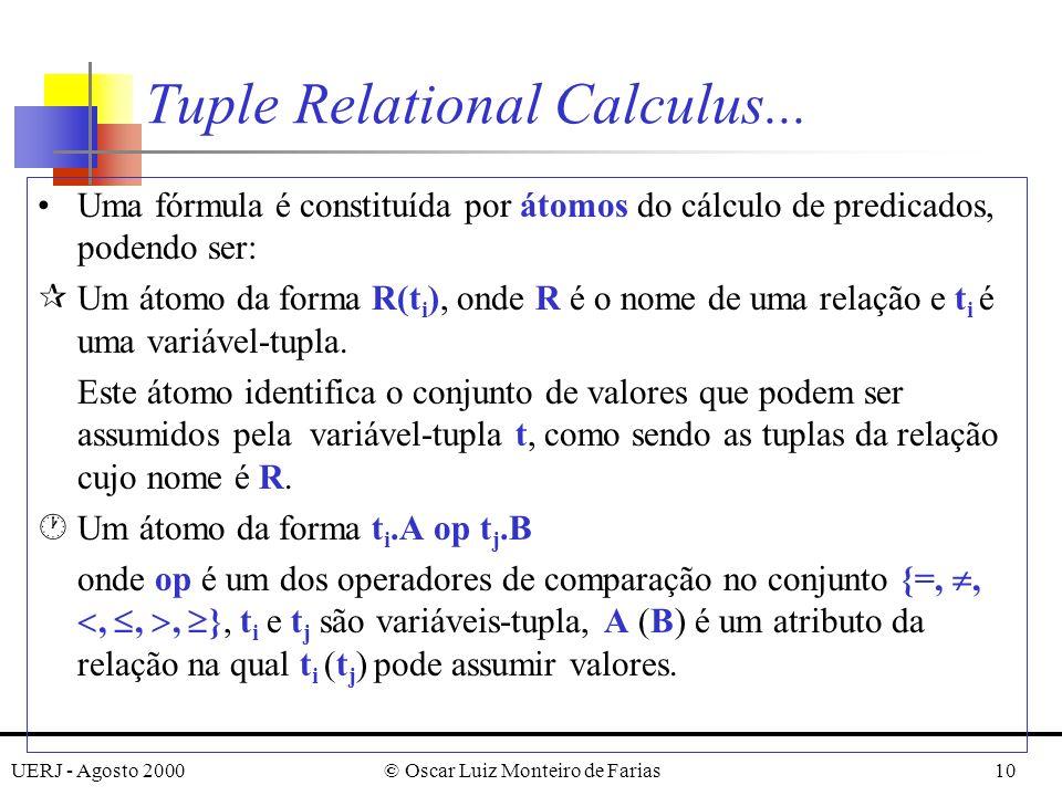 UERJ - Agosto 2000© Oscar Luiz Monteiro de Farias10 Uma fórmula é constituída por átomos do cálculo de predicados, podendo ser: ¶Um átomo da forma R(t i ), onde R é o nome de uma relação e t i é uma variável-tupla.