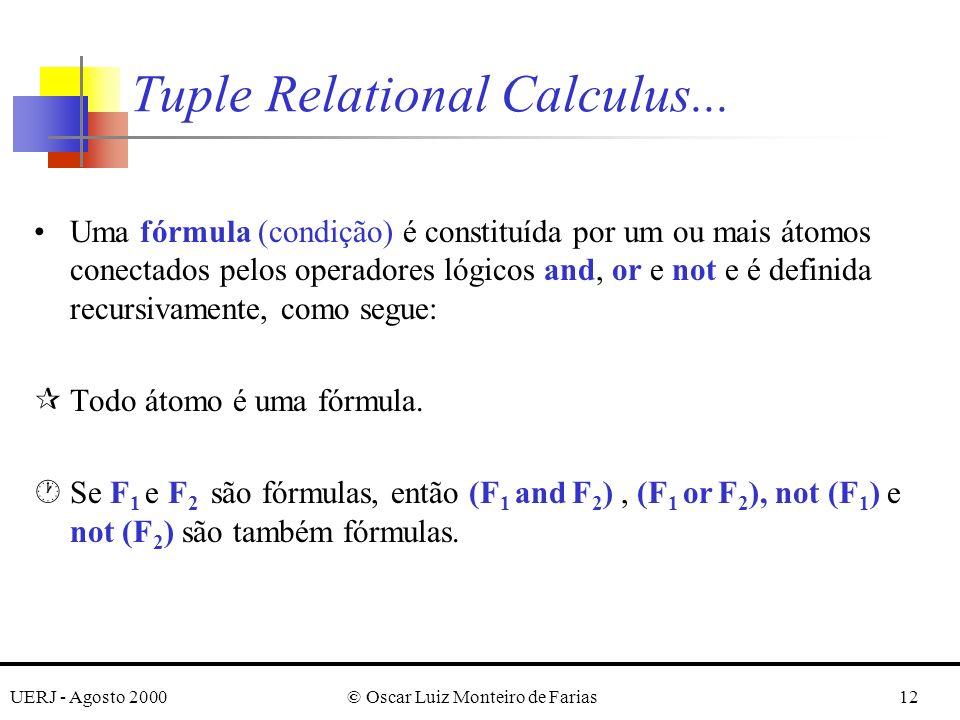 UERJ - Agosto 2000© Oscar Luiz Monteiro de Farias12 Uma fórmula (condição) é constituída por um ou mais átomos conectados pelos operadores lógicos and, or e not e é definida recursivamente, como segue: ¶Todo átomo é uma fórmula.