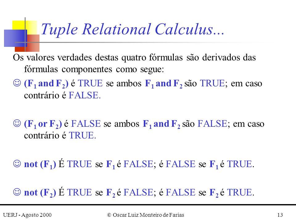 UERJ - Agosto 2000© Oscar Luiz Monteiro de Farias13 Os valores verdades destas quatro fórmulas são derivados das fórmulas componentes como segue: J(F 1 and F 2 ) é TRUE se ambos F 1 and F 2 são TRUE; em caso contrário é FALSE.