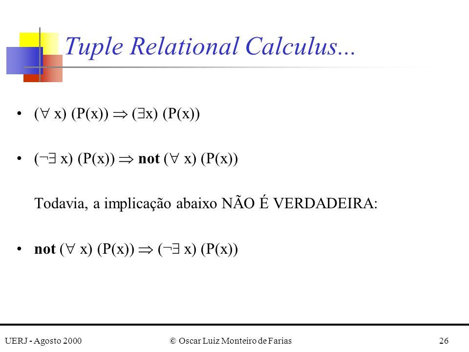 UERJ - Agosto 2000© Oscar Luiz Monteiro de Farias26 Tuple Relational Calculus...