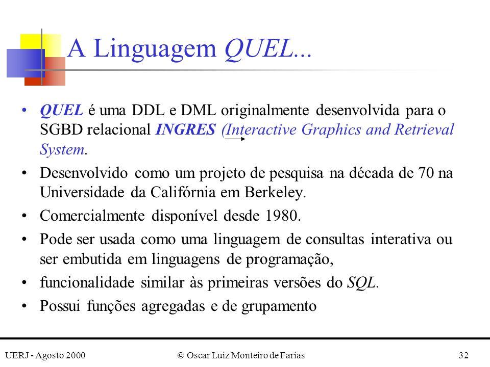 UERJ - Agosto 2000© Oscar Luiz Monteiro de Farias32 QUEL é uma DDL e DML originalmente desenvolvida para o SGBD relacional INGRES (Interactive Graphics and Retrieval System.