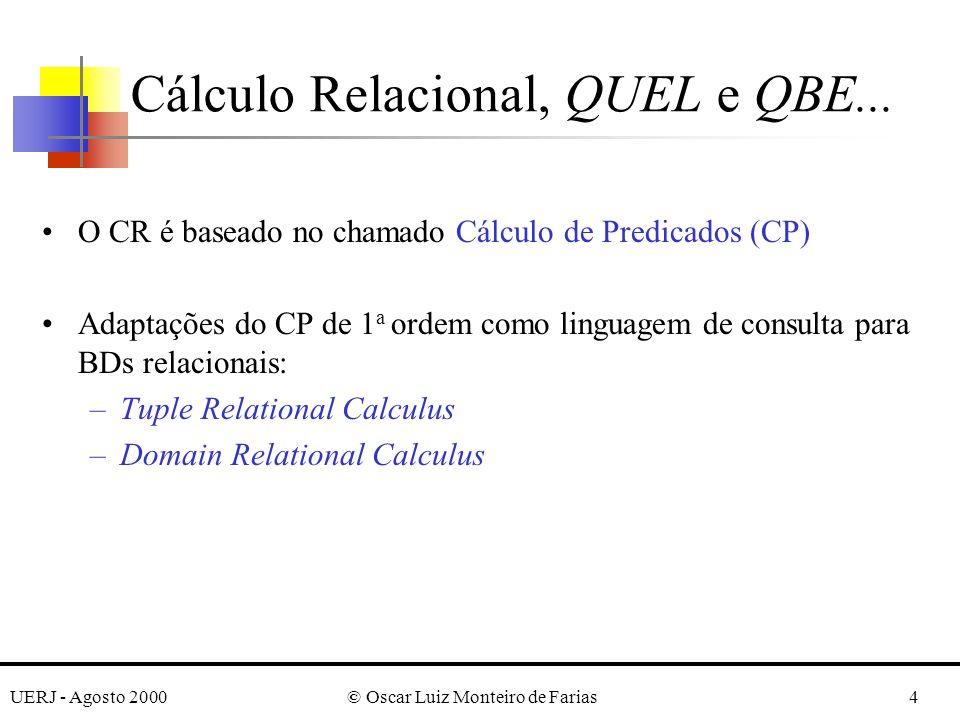 UERJ - Agosto 2000© Oscar Luiz Monteiro de Farias25 Transformações dos Quantificadores Existencial e Universal ¶( x) (P(x)) = (¬ x) (not (P(x))) ·( x) (P(x)) = not ( x) (not (P(x))) ¸( x) (P(x) and Q(X)) = (¬ x) (not (P(x)) or not Q(x))) ¹( x) (P(x) or Q(X)) = (¬ x) (not (P(x)) and not Q(x))) º( x) (P(x) or Q(x)) = not ( x) (not (P(x)) and not (Q(x))) »( x) (P(x) and Q(x)) = not ( x) (not (P(x)) or not (Q(x))) Regras: i) transforme um quantificador no outro, precedendo-o por not; ii) and e or substituem-se reciprocamente; iii) P(x) é transformado em not (P(x)) e not (P(x)) em P(x).