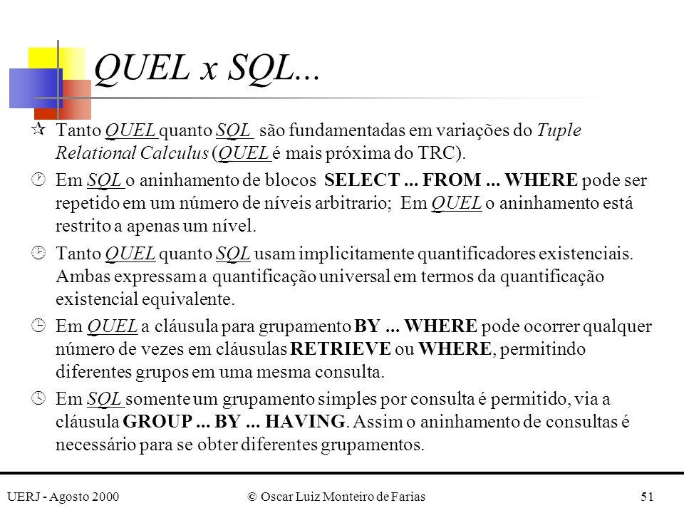 UERJ - Agosto 2000© Oscar Luiz Monteiro de Farias51 QUEL x SQL...