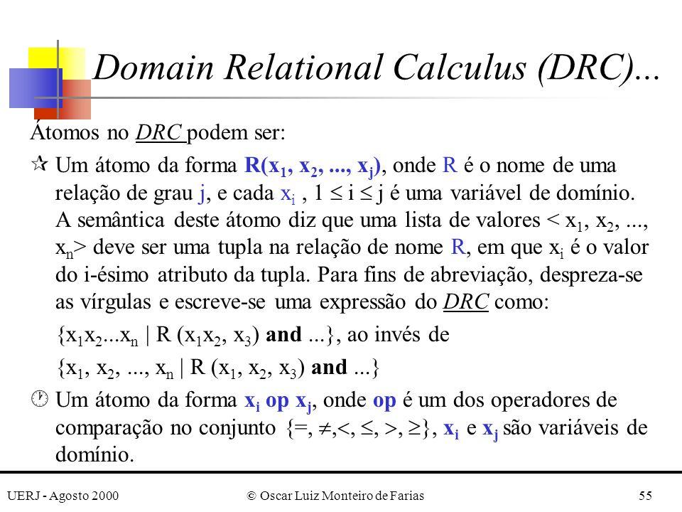 UERJ - Agosto 2000© Oscar Luiz Monteiro de Farias55 Átomos no DRC podem ser: ¶Um átomo da forma R(x 1, x 2,..., x j ), onde R é o nome de uma relação de grau j, e cada x i, 1 i j é uma variável de domínio.