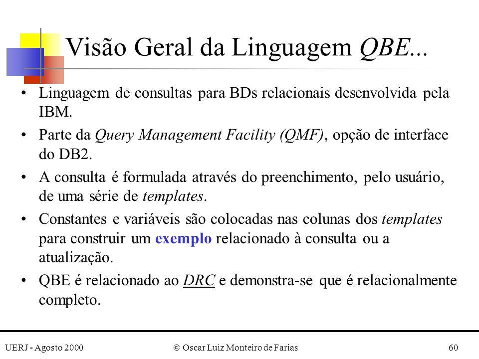 UERJ - Agosto 2000© Oscar Luiz Monteiro de Farias60 Visão Geral da Linguagem QBE...