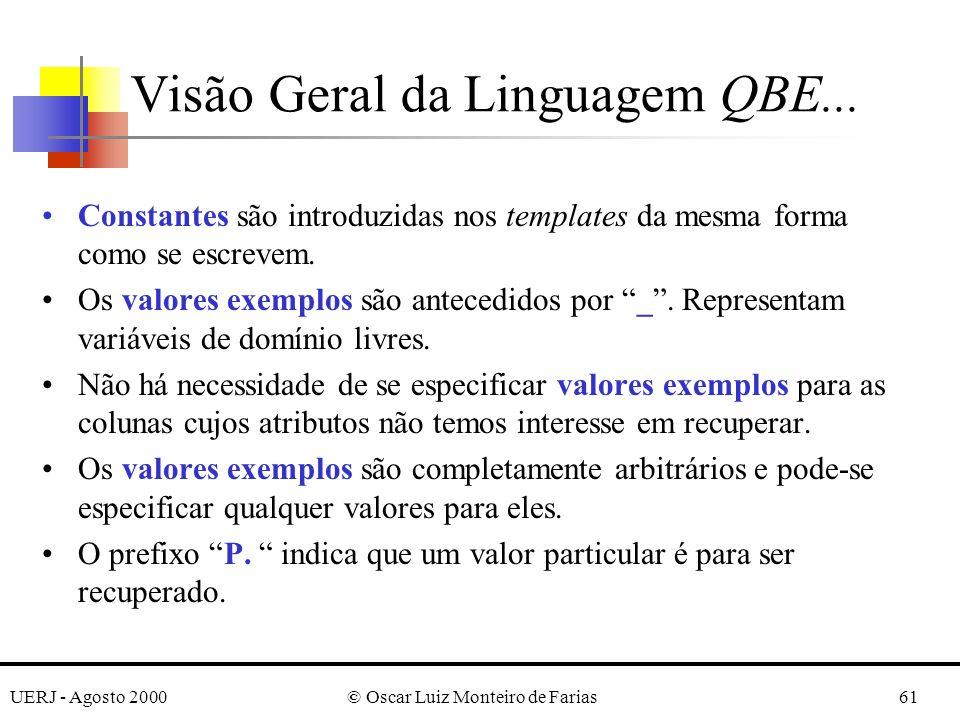 UERJ - Agosto 2000© Oscar Luiz Monteiro de Farias61 Constantes são introduzidas nos templates da mesma forma como se escrevem.