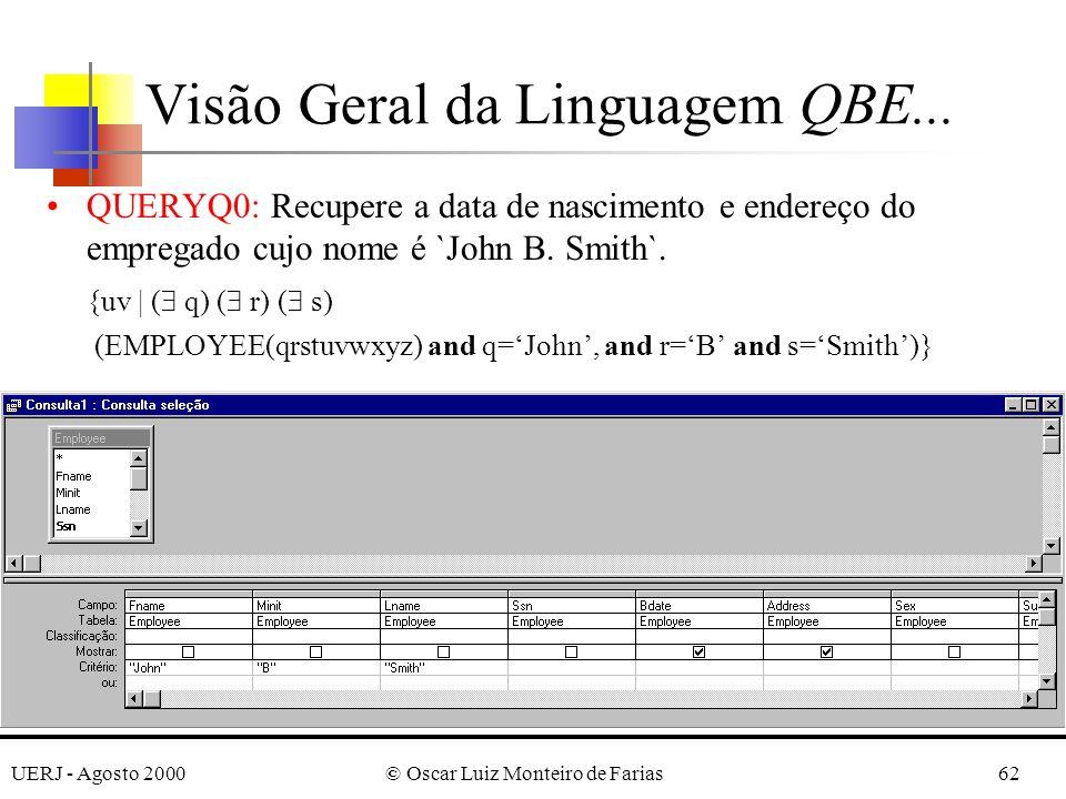 UERJ - Agosto 2000© Oscar Luiz Monteiro de Farias62 QUERYQ0: Recupere a data de nascimento e endereço do empregado cujo nome é `John B.