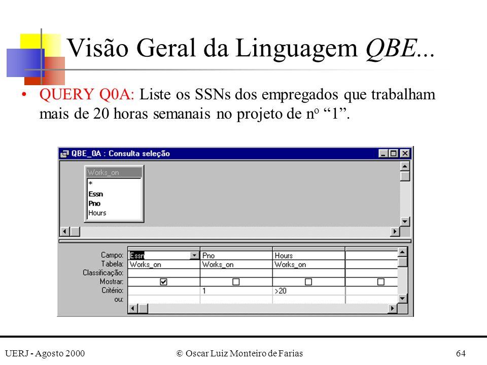 UERJ - Agosto 2000© Oscar Luiz Monteiro de Farias64 QUERY Q0A: Liste os SSNs dos empregados que trabalham mais de 20 horas semanais no projeto de n o 1.
