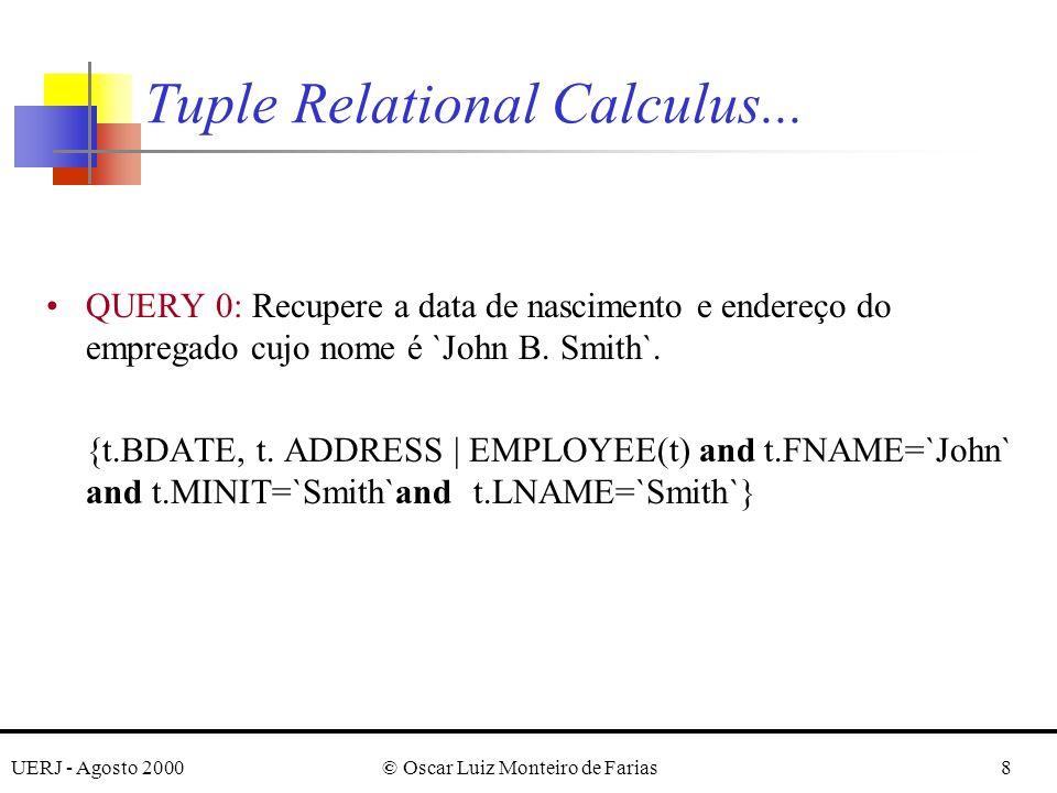 UERJ - Agosto 2000© Oscar Luiz Monteiro de Farias39 Para se eliminar tuplas duplicatas no resultado da consulta, usa-se a keyword UNIQUE.