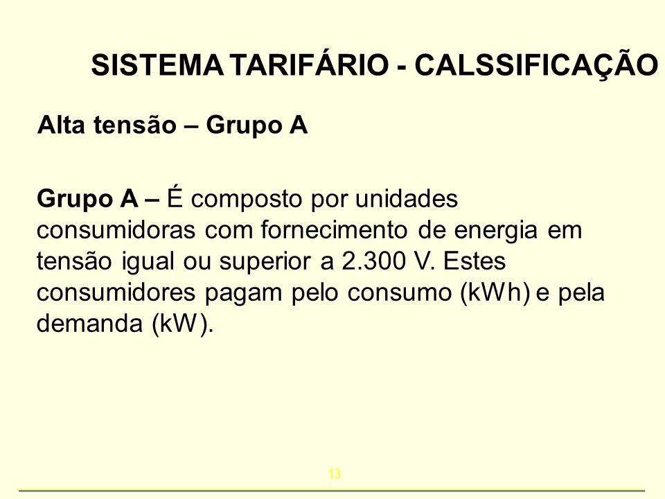 13 SISTEMA TARIFÁRIO - CALSSIFICAÇÃO Alta tensão – Grupo A Grupo A – É composto por unidades consumidoras com fornecimento de energia em tensão igual