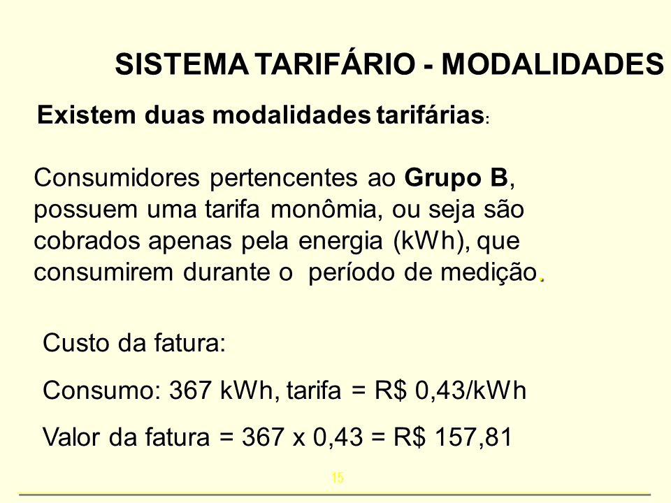 15 SISTEMA TARIFÁRIO - MODALIDADES Existem duas modalidades tarifárias : Consumidores pertencentes ao Grupo B, possuem uma tarifa monômia, ou seja são