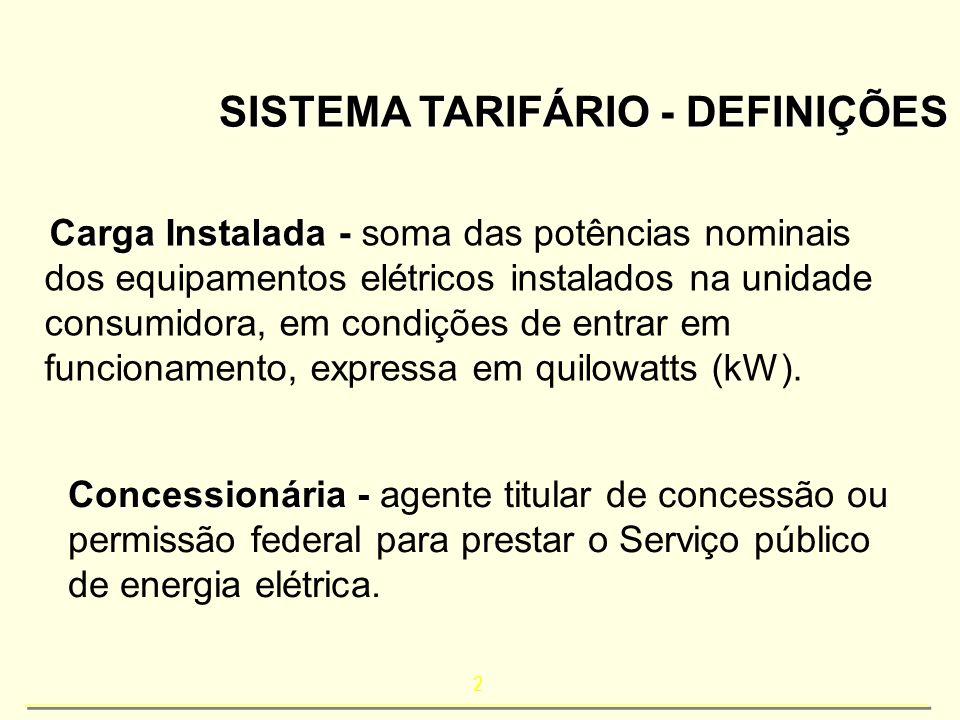2 SISTEMA TARIFÁRIO - DEFINIÇÕES Carga Instalada - Carga Instalada - soma das potências nominais dos equipamentos elétricos instalados na unidade cons