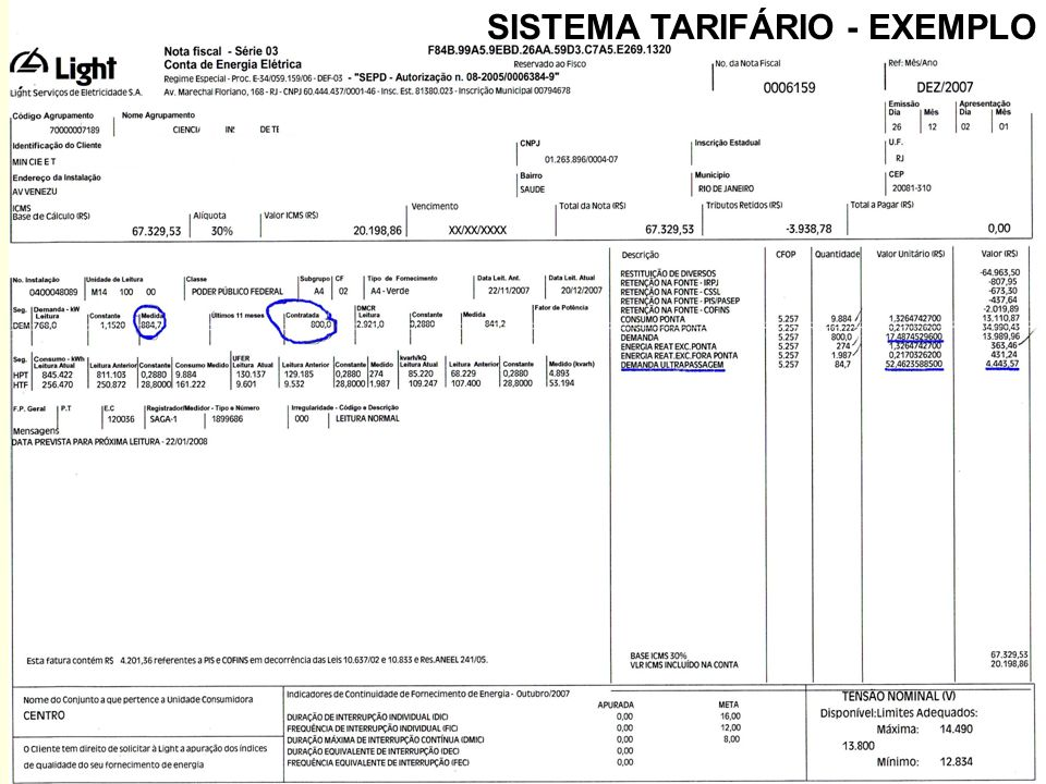 32 SISTEMA TARIFÁRIO - EXEMPLO